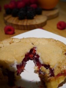 summer fruit meringue pie cut