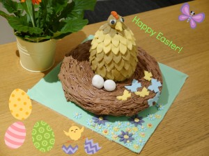 Make a giant Easter nest and decorate an Easter egg as a chicken.