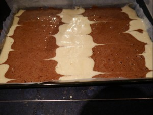 Chocolate and vanilla swiss roll batter 2